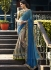Grey crepe silk and chiffon wedding wear saree