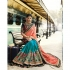 Peach and blue crepe silk and chiffon wedding wear saree