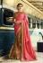 Mustard and pink crepe and silk wedding wear saree