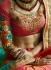 Blue and pink silk crepe and art silk wedding wear saree