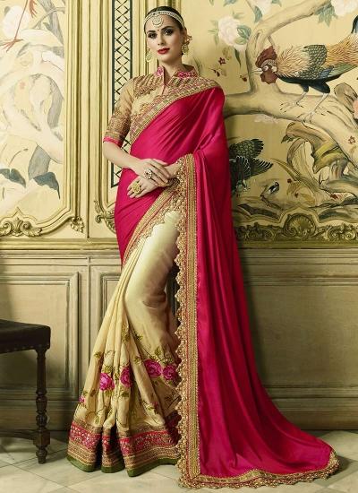 Pink and cream crepe satin and art silk wedding wear saree