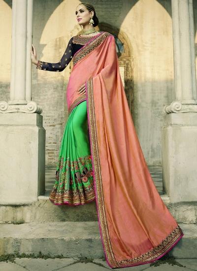 Peach and green silk crepe wedding wear saree