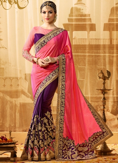 Pink and purple jacquard art silk and jacquard crepe silk wedding wear saree