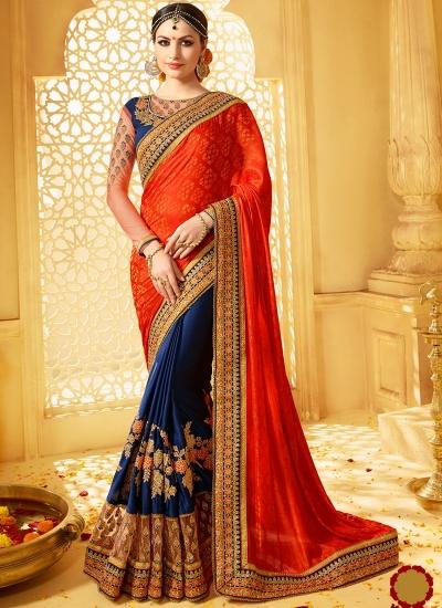 Orange and blue banarasi jacquard and jacquard wedding wear saree
