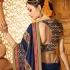 Navy blue art silk wedding wear saree