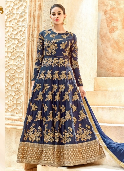 Navy blue swiss shadow color party wear anarkali kameez