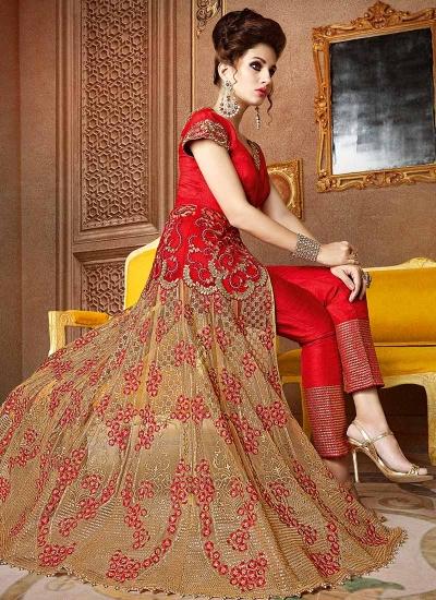 Red and beige banarasi silk and net wedding wear anarkali