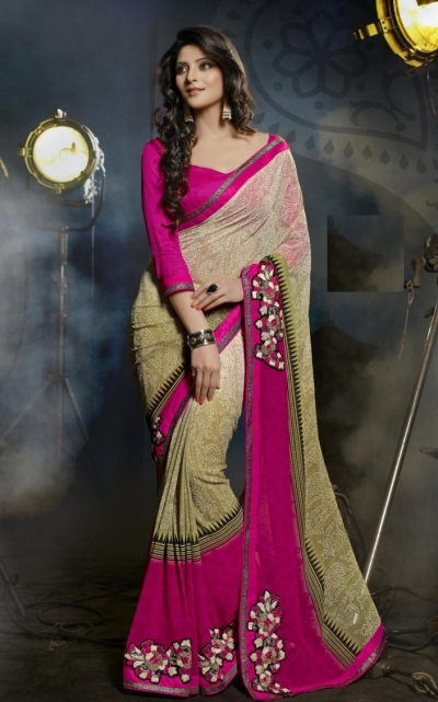 Beige Colored Printed Faux Georgette Saree 44001B