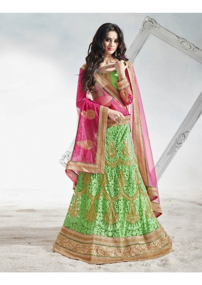 Green Net Embroidered Circular Lehenga Choli 82016