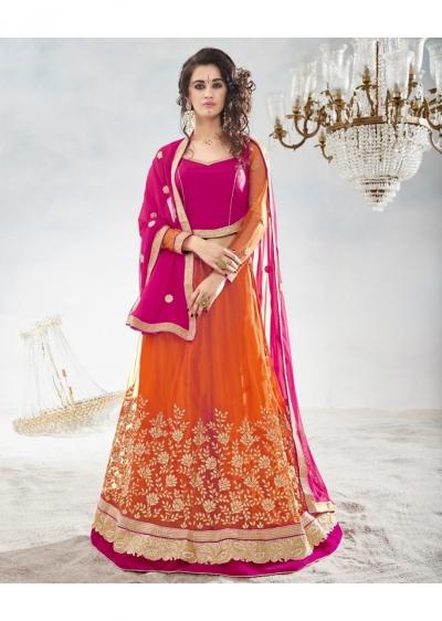 Orange Colored Embroidered Net Festival Lehenga Choli 82022