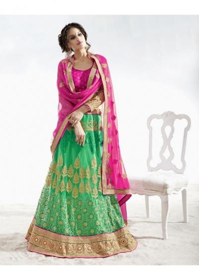 Green Colored Embroidered Net Festival Lehenga Choli 82024