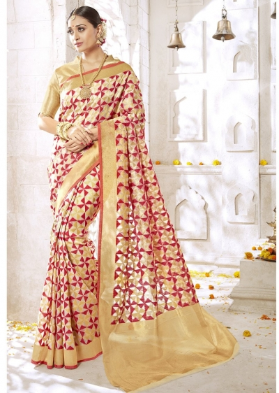 Beige Colored Woven Art Silk Officewear Saree 2201