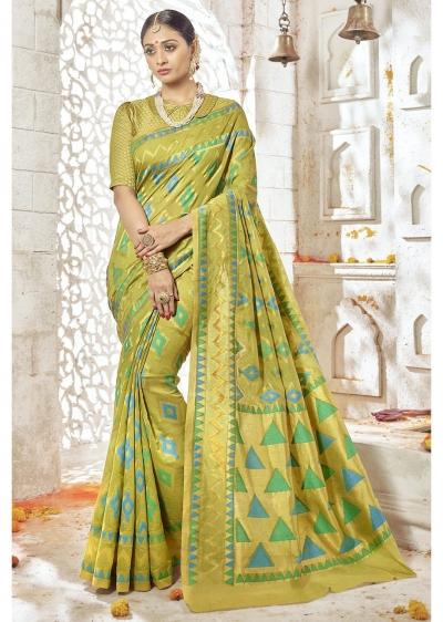 Green Colored Woven Art Silk Festive Saree 2202