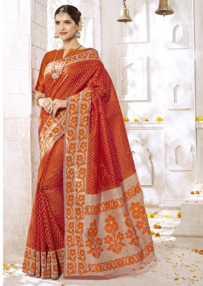 Orange Colored Woven Art Silk Festive Saree 2203