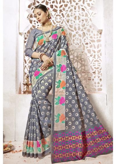 Grey Colored Woven Art Silk Officewear Saree 2204