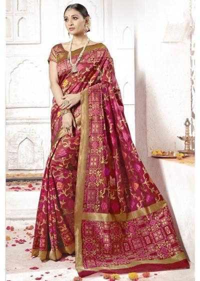 Maroon Colored Woven Art Silk Festive Saree 2205
