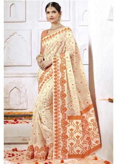 Off White Colored Woven Art Silk Festive Saree 2206