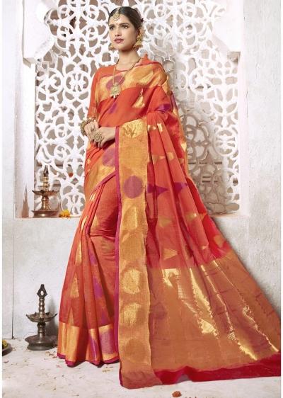 Orange Colored Woven Art Silk Festive Saree 2207