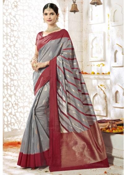 Grey Colored Woven Art Silk Officewear Saree 2208
