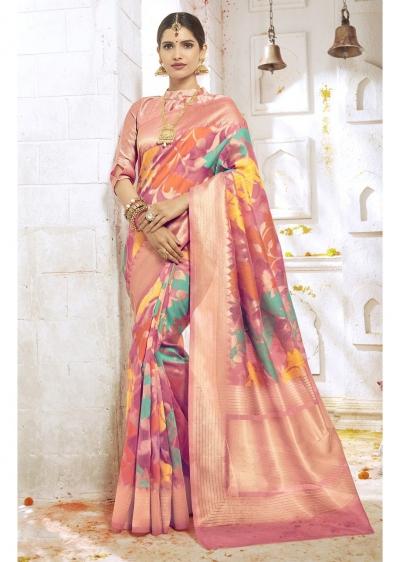 Peach Colored Woven Art Silk Festive Saree 2209