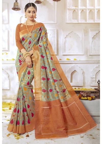 Green Colored Woven Art Silk Festive Saree 2210
