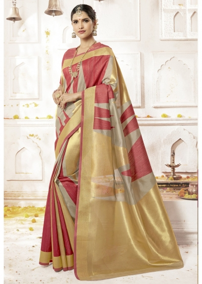 Multi Colored Woven Art Silk Festive Saree 2211
