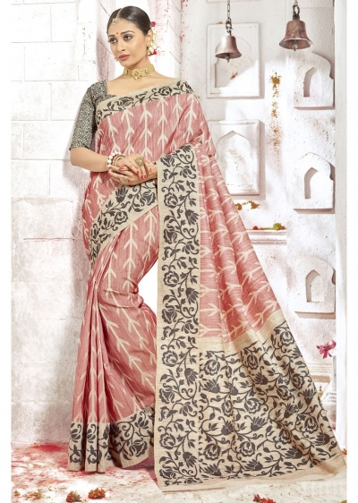 Peach Colored Woven Art Silk Officewear Saree 2212