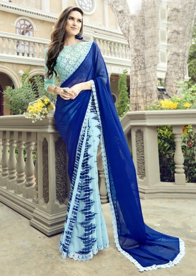 SkyBlue Colored Printed Chiffon Georgette Officewear Saree 2101