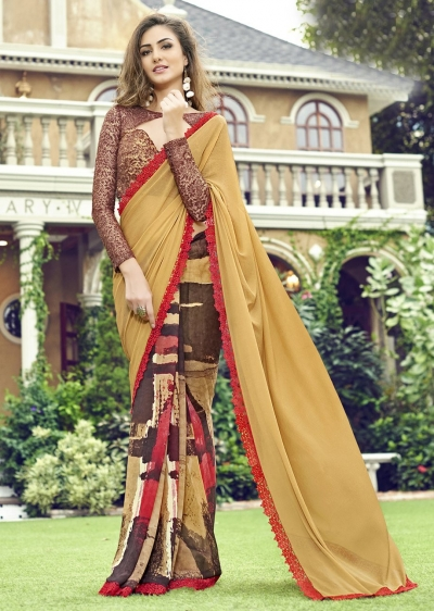 Beige Colored Printed Chiffon Georgette Festive Saree 2104