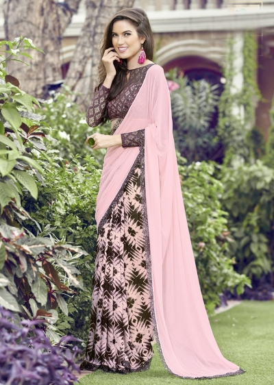 Pink Colored Printed Chiffon Georgette Festive Saree 2105
