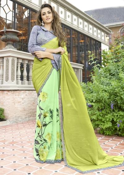 Green Colored Printed Chiffon Georgette Festive Saree 2106