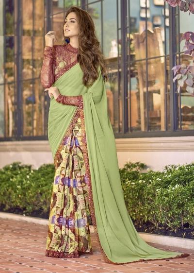 Green Colored Printed Chiffon Georgette Festive Saree 2110