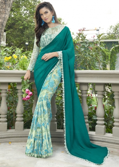 Green Colored Printed Chiffon Georgette Festive Saree 2112