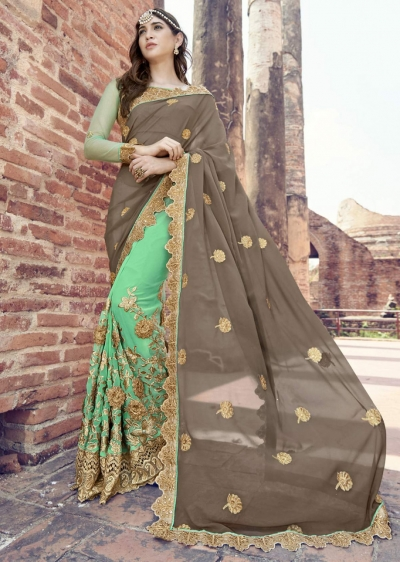 Green Colored Embroidered Faux Georgette Partywear Saree 1901