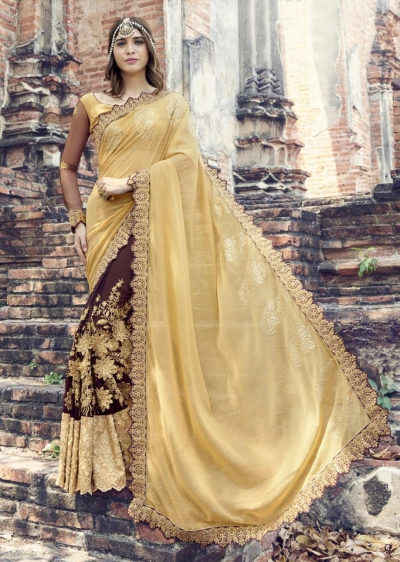 Brown Colored Embroidered Faux Georgette Partywear Saree 1903