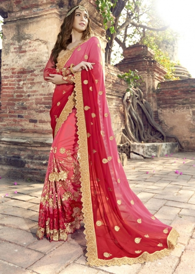 Peach Colored Embroidered Faux Georgette Partywear Saree 1904