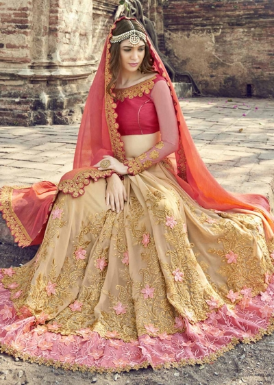 Beige Colored Embroidered Faux Georgette Partywear Saree 1906