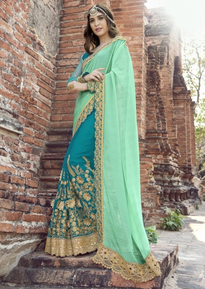 SkyBlue Colored Embroidered Faux Georgette Partywear Saree 1907