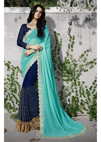 Blue Colored Embroidered Georgette Chiffon Festive Saree 97043