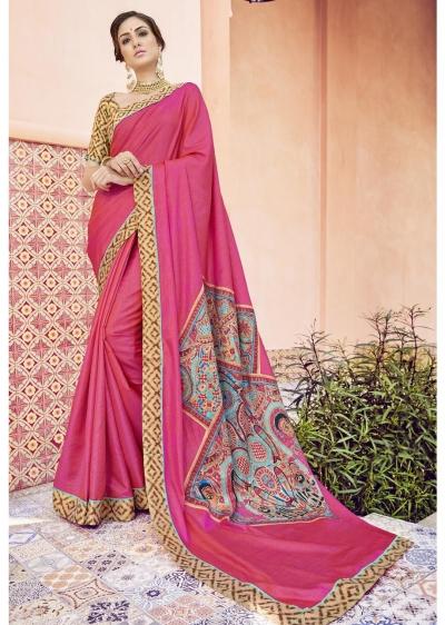 Pink Colored Printed Art Silk Officewear Saree 5105