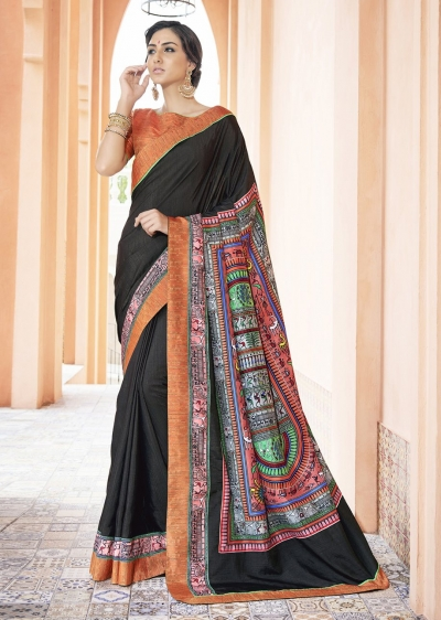 Black Colored Printed Art Silk Officewear Saree 5106