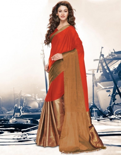 Aryaa Saffron Party Wear Cotton Saree