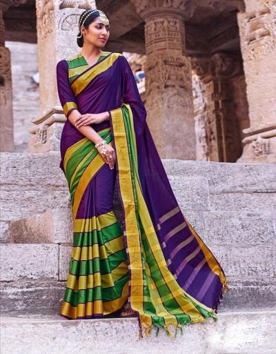 Jasnam Wedding Wear Cotton Saree