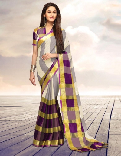 Areesa Creamy Party Wear Cotton Saree