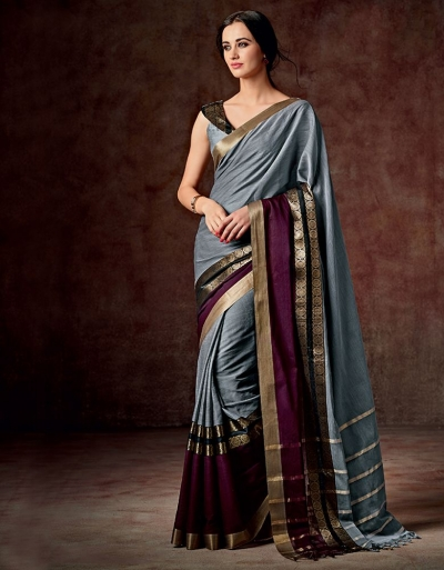 Charmi Stormy Grey Cotton Saree