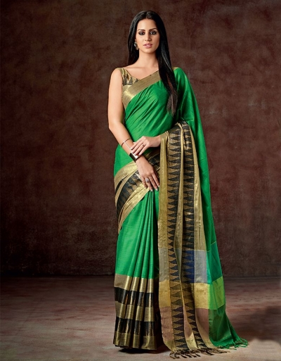 Masarat Shimmering Green Cotton Saree