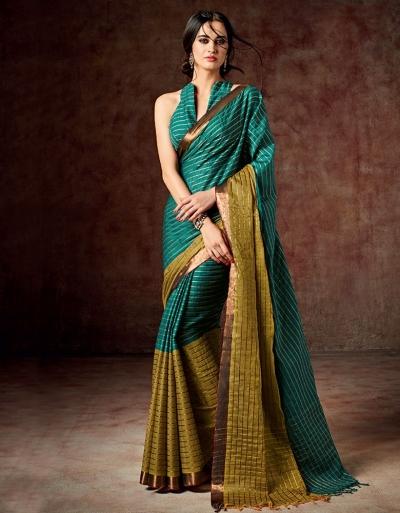 Bani Shamrock Green Cotton Saree