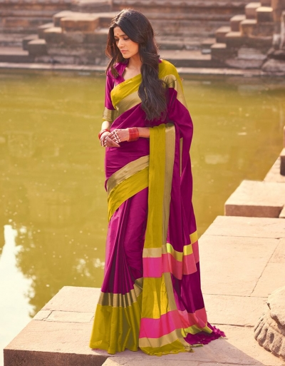 Aangi Mulberry Pink Festive Wear Cotton Saree