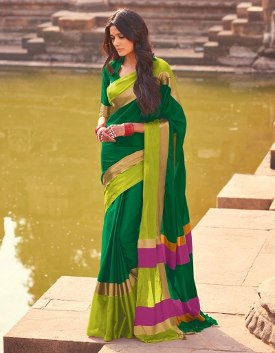 Aangi Emerald Green Festive Wear Cotton Saree