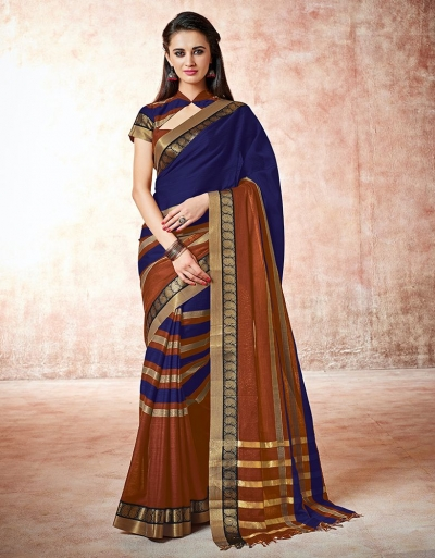 Parisa royal blue Cotton Saree
